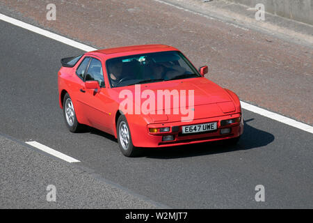 E647UWE red 1988 Porsche 944; Motoring classics, historics, vintage motors and collectibles 2019; Leighton Hall transport show, cars & veteran vehicles of yesteryear on the M6 motorway near Lancaster, UK - Stock Photo