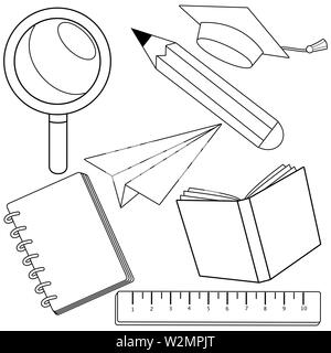 School supplies on white background. Black and white coloring book page - Stock Photo