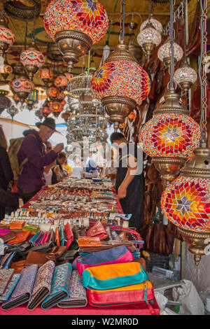 Mertola, Portugal - May 18, 2019: Glass lamps that were sold in the streets of Mertola on the occasion of an Islamic festival - Stock Photo