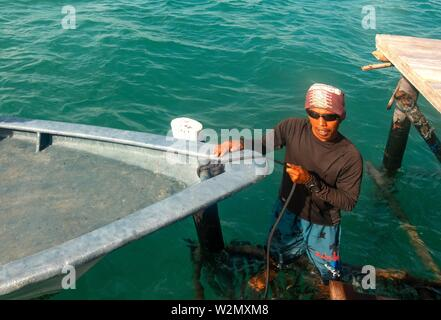 Indonesia, On a 'Kelong' ( houses on the sea) in front of the village of Teluk Bakau, on the island of Bintan. - Stock Photo