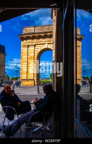 France, Nouvelle Aquitaine, Gironde, 'Porte de Bourgogne' gate, at Bordeaux. Stock Photo