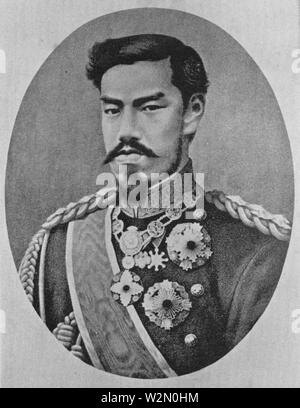 [ 1880s Japan - Emperor Meiji ] —   Emperor Meiji, print from 1894.  20th century vintage collotype print. - Stock Photo
