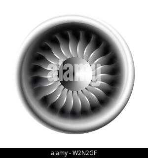 Turbine engine jet for airplane with fan blades in a circular motion Vector illustration for aircraft industry. Close-up on a white background. - Stock Photo