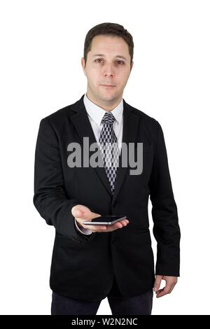 Businessman in Black Suit Holding Smartphone in Hand Against White Background. - Stock Photo