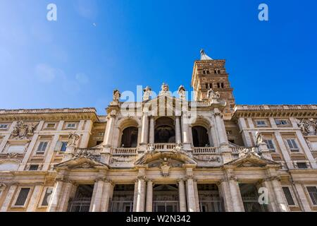 Facade Entrance Tower Santa Maria Maggiore Rome Italy. One of 4 Papal basilicas, built 422-432, built in honor of Virgin Mary, became Papal residency - Stock Photo