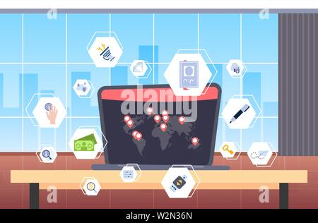 laptop screen with world map location geo tags different computer applications virtual interface concept workplace desk office interior flat - Stock Photo
