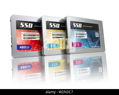 SSD state solid drives disks isolated on white background. 3d illustration. - Stock Photo