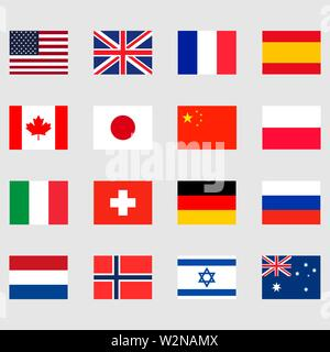 16 national flags set icons. Vector eps10 - Stock Photo