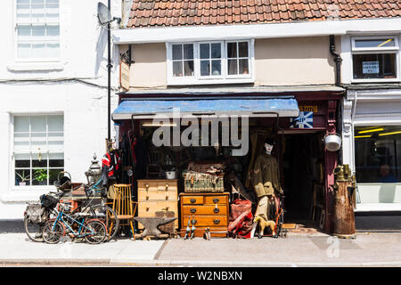 A collection of bric-a-brac and antiques on the pavement outside the Old Sweet Works shop in Trowbridge, Wiltshire.