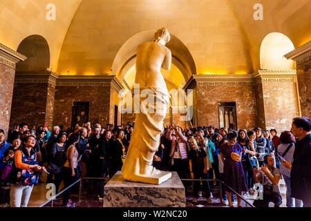 Statue of Venus de Milo (Aphrodite), Greek and Roman antiquities, Louvre Museum, Paris, France. - Stock Photo