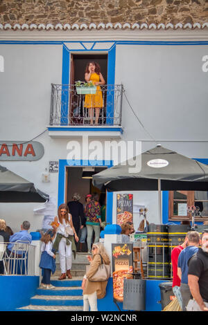 Mertola, Portugal - May 18, 2019: Bustle of people at the Islamic festival held in Mertola - Stock Photo