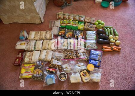 Food for a two week trek across the Cordillera Real, Bolivia. - Stock Photo