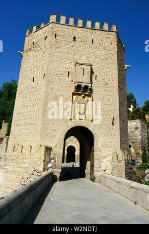The door of Alfonso VI or old of Bisagra de Toledo, Castilla la Mancha, Spain - Stock Photo