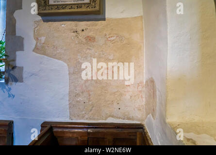 Pyrford Wall Paintings in St Nicholas' Church in the parish of Wisley with Pyrford, Surrey, southeast England, UK - Stock Photo