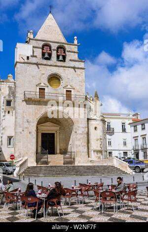 Republic Square and Church of Our Lady of the Assumption, Garrison Border Town of Elvas and its Fortifications, Portalegre District, Alentejo Region, - Stock Photo