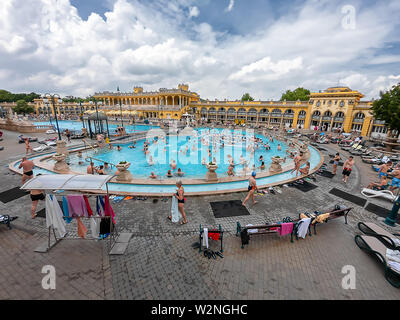 Budapest, Hungary - May 29, 2019 : Szechenyi Baths in Budapest, Thermal Bath - open air thermal bath complex in Budapest. Hungary - Stock Photo