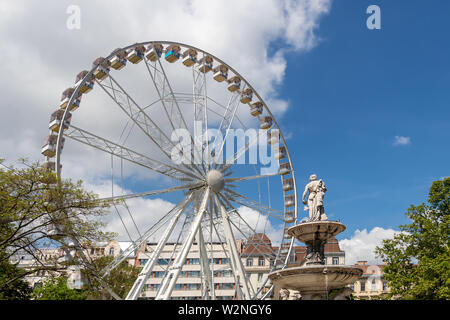 Budapest, Hungary - May 25, 2019 : View of the ferris wheel in Erzsebet square in Budapest, Hungary - Stock Photo