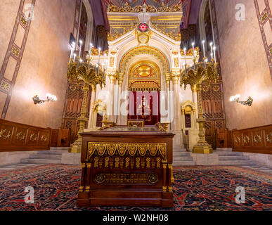 Budapest, Hungary - May 27, 2019 :  Interior of the Great Synagogue (Tabakgasse Synagogue) in Budapest, Hungary. It is the largest synagogue in Europe - Stock Photo