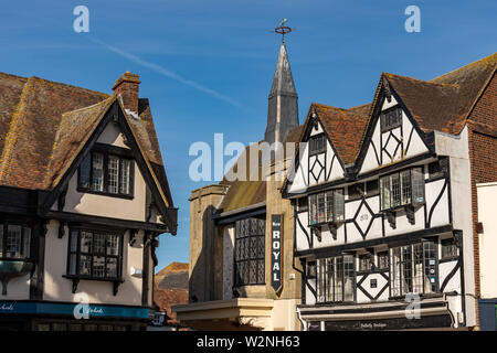 Picture of The Royal Cinema including two Tudor Houses next to it. Tudor Houses are in front. - Stock Photo