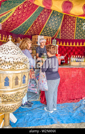 Mertola, Portugal - May 18, 2019: Arabic style decoration in the islamic festival held in the streets of Mertola, Portugal - Stock Photo