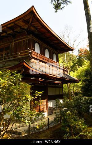 Ginkaku-ji temple or Silver Pavilion in Kyoto city, Honshu, Japan, Asia. - Stock Photo