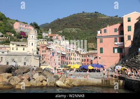 VERNAZZA ITALY-JULY 18, 2015: Harbor in the Ligurian coast on July 18, 2015 in Vernazza Cinque Terre La Spezia Italy. - Stock Photo