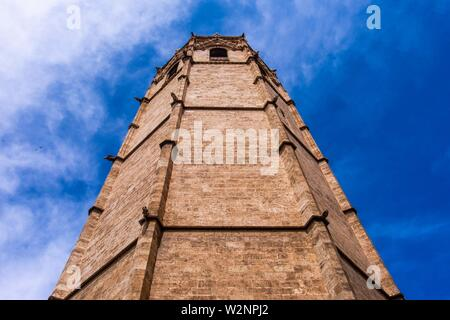 """Tower of the Metropolitan Cathedralâ. """"Basilica of the Assumption of Our Lady of Valencia (Saint Mary's Cathedral or Valencia Cathedral) in Valencia, - Stock Photo"""