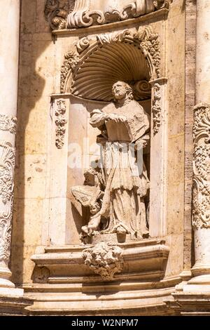 """Stone sculpture at the exterior of the Metropolitan Cathedralâ. """"Basilica of the Assumption of Our Lady of Valencia (Saint Mary's Cathedral or - Stock Photo"""