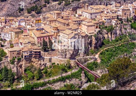 Vista aérea de la ciudad de Cuenca desde el cerro del Socorro. Castilla la Mancha. España. - Stock Photo