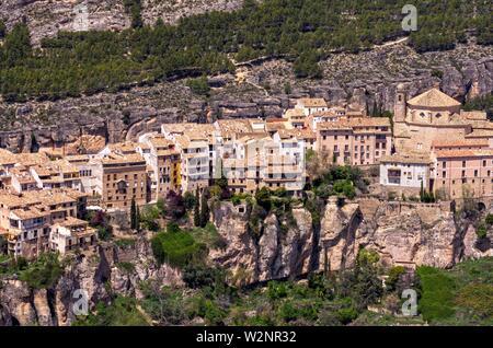 Vista aérea desde el cerro del Socorro de la hoz del Huécar de la ciudad de Cuenca. Castilla la Mancha. España. - Stock Photo