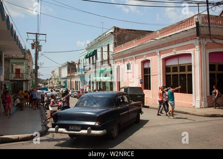 Street scene from the town center, Trinidad, Sancti Spiritus Province, Cuba, West Indies, Central America - Stock Photo