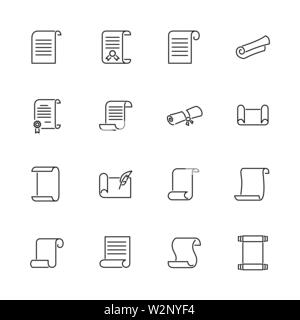 Scrolls and Papers outline icons set - Black symbol on white background. Scrolls and Papers Simple Illustration Symbol - lined simplicity Sign. Flat V - Stock Photo