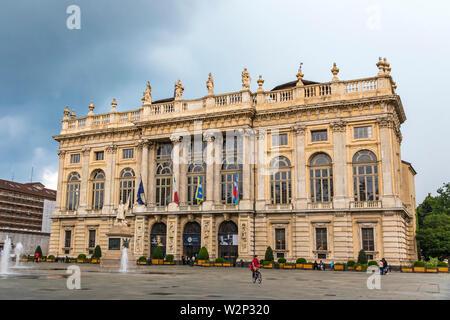 Turin, Italy - June 14, 2018: Royal Palace (Palazzo Madama e Casaforte degli Acaja) in Turin, Italy. Added to UNESCO World Heritage Sites list as a pa - Stock Photo