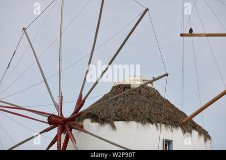 Mykonos, ˈmikonos Greek island, part of the Cyclades, Greece. iconic landmark windmills in the harbour area Kato Mili - Stock Photo