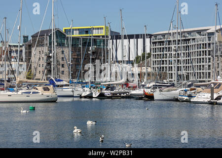 Plymouth Sutton Harbour, inner basin, yachts at rest in a safe haven