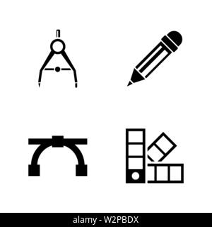 Engineering Tools. Simple Related Vector Icons Set for Video, Mobile Apps, Web Sites, Print Projects and Your Design. Black Flat Illustration on White - Stock Photo