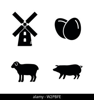 Farming. Simple Related Vector Icons Set for Video, Mobile Apps, Web Sites, Print Projects and Your Design. Black Flat Illustration on White Backgroun - Stock Photo