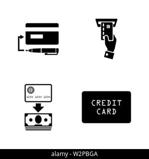 Credit Cards. Simple Related Vector Icons Set for Video, Mobile Apps, Web Sites, Print Projects and Your Design. Black Flat Illustration on White Back - Stock Photo