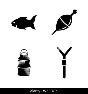 Fishing. Simple Related Vector Icons Set for Video, Mobile Apps, Web Sites, Print Projects and Your Design. Black Flat Illustration on White Backgroun - Stock Photo