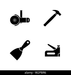 Construction Working Tools. Simple Related Vector Icons Set for Video, Mobile Apps, Web Sites, Print Projects and Your Design. Black Flat Illustration - Stock Photo