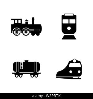 Rail Transport. Simple Related Vector Icons Set for Video, Mobile Apps, Web Sites, Print Projects and Your Design. Black Flat Illustration on White Ba - Stock Photo