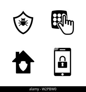 Personal Security. Simple Related Vector Icons Set for Video, Mobile Apps, Web Sites, Print Projects and Your Design. Black Flat Illustration on White - Stock Photo