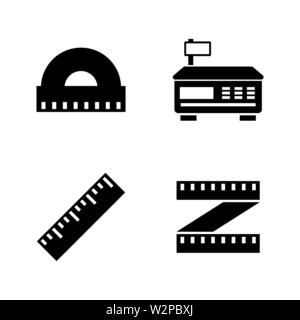 Measuring Instrument. Simple Related Vector Icons Set for Video, Mobile Apps, Web Sites, Print Projects and Your Design. Black Flat Illustration on Wh - Stock Photo