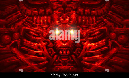 Cyber wall with robot head bas-relief in form of woman face. Glowing lines and patterns. Illustration in genre of horror fiction. Red color background - Stock Photo