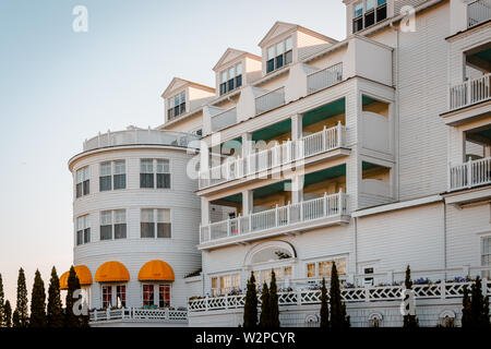 The rear side of the Grand Hotel on Mackinac Island Michigan - Stock Photo
