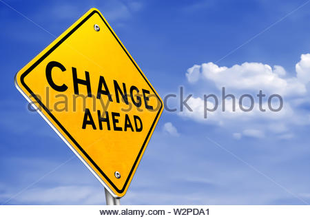 CHANGE AHEAD - yellow roadsign information - Stock Photo
