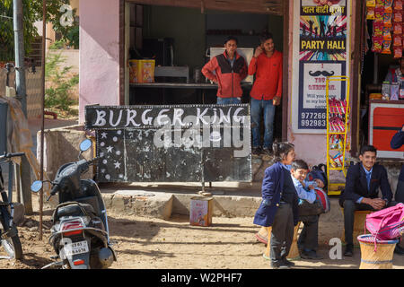 Ajmer, India - February 07, 2019: Indian local Buger King fast food restaurant in Ajmer - Stock Photo