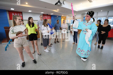 Jiangsu, Jiangsu, China. 10th July, 2019. Jiangsu, China - July 10 2019: Eleven students from the Goldsmiths Confucius institute for dance and performance at University of London have entered jiangsu university for a 2019 summer camp in China.Through the appreciation, learning and experience of Chinese opera, they perceive the charm of traditional Chinese culture.They will also learn Chinese calligraphy and tai chi, visit historical and cultural sites, and embark on a rich cultural tour of China. Credit: SIPA Asia/ZUMA Wire/Alamy Live News - Stock Photo