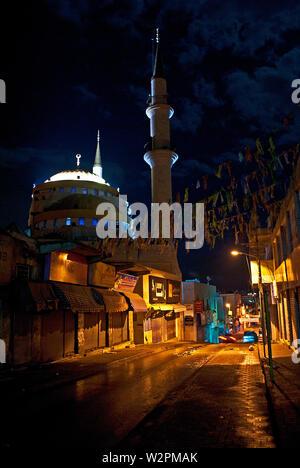 Amazing view of the beautiful Mosque of Jesus Christ illuminated at night in Madaba, Jordan. - Stock Photo