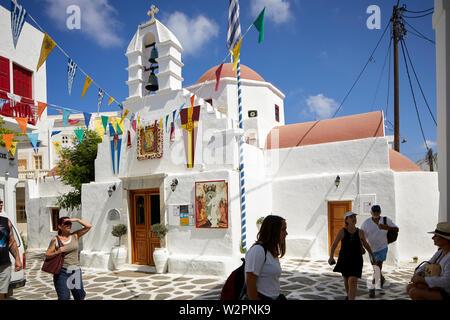 Mykonos, mikonos Greek island, part of the Cyclades, Greece. Agia Kyriaki Church in the souk area - Stock Photo